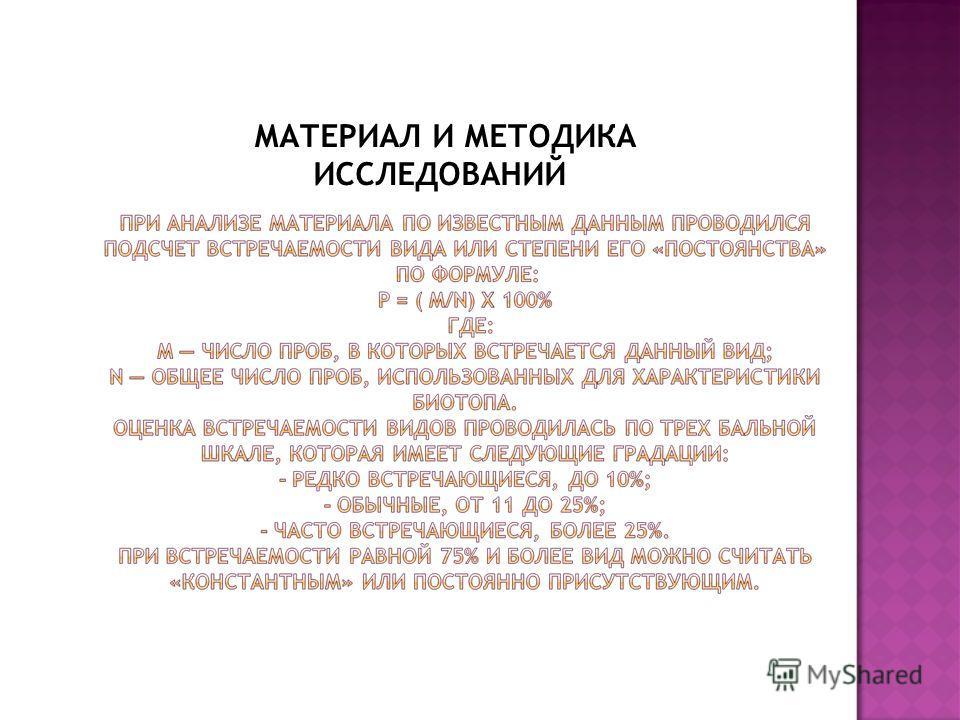МАТЕРИАЛ И МЕТОДИКА ИССЛЕДОВАНИЙ