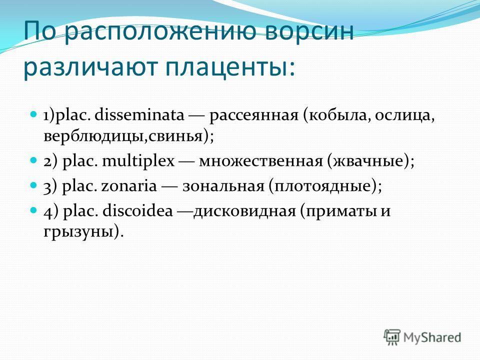 По расположению ворсин различают плаценты: 1)plac. disseminata рассеянная (кобыла, ослица, верблюдицы,свинья); 2) plac. multiplex множественная (жвачные); 3) plac. zonaria зональная (плотоядные); 4) plac. discoidea дисковидная (приматы и грызуны).