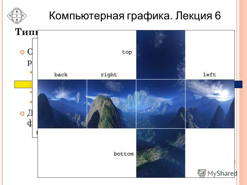 Типы текстур OpenGL позволяет осуществлять наложение различных типов текстур Одномерные текстуры Двумерные текстуры Трехмерные текстуры Кубические текстуры Для каждого типа текстур в OpenGL имеется функция, создающая текстурное изображение Компьютерн