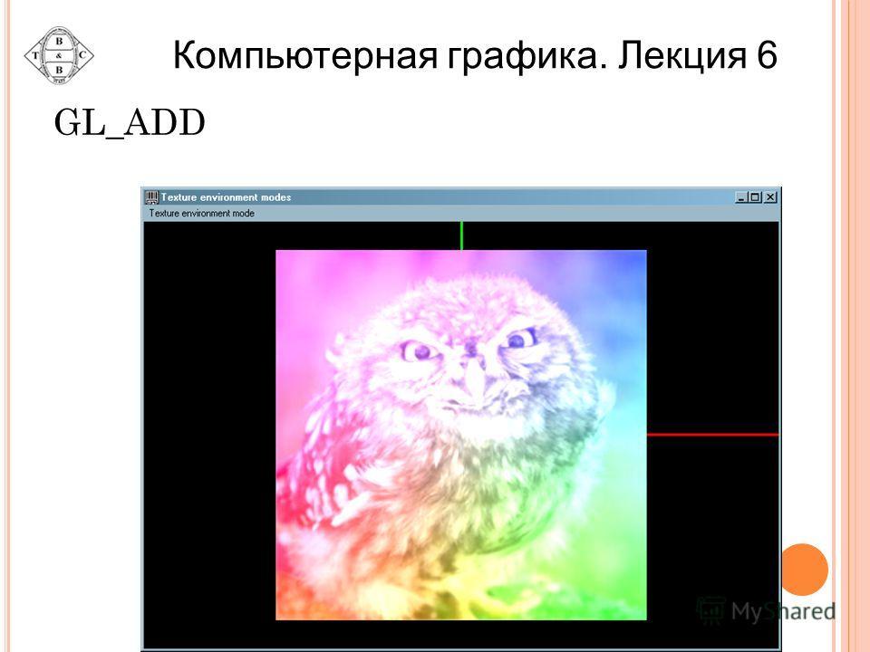 GL_ADD Компьютерная графика. Лекция 6