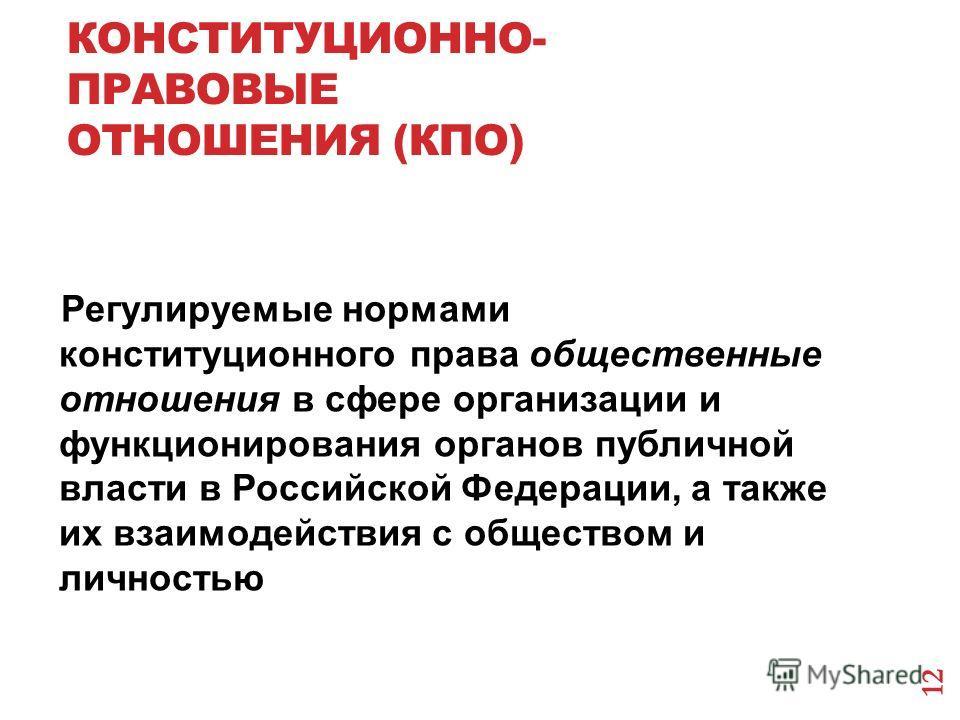 КОНСТИТУЦИОННО- ПРАВОВЫЕ ОТНОШЕНИЯ (КПО) Регулируемые нормами конституционного права общественные отношения в сфере организации и функционирования органов публичной власти в Российской Федерации, а также их взаимодействия с обществом и личностью 12