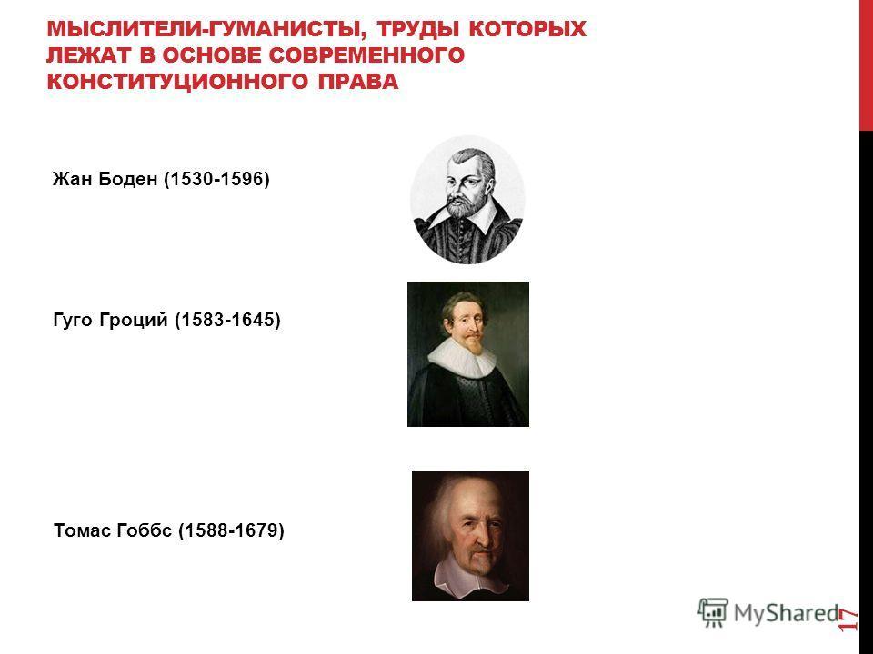 МЫСЛИТЕЛИ-ГУМАНИСТЫ, ТРУДЫ КОТОРЫХ ЛЕЖАТ В ОСНОВЕ СОВРЕМЕННОГО КОНСТИТУЦИОННОГО ПРАВА Жан Боден (1530-1596) Гуго Гроций (1583-1645) Томас Гоббс (1588-1679) 17