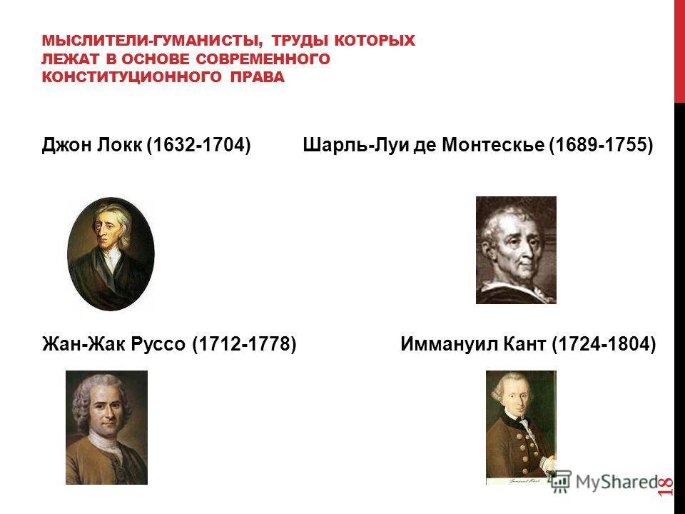 МЫСЛИТЕЛИ-ГУМАНИСТЫ, ТРУДЫ КОТОРЫХ ЛЕЖАТ В ОСНОВЕ СОВРЕМЕННОГО КОНСТИТУЦИОННОГО ПРАВА Джон Локк (1632-1704) Шарль-Луи де Монтескье (1689-1755) Жан-Жак Руссо (1712-1778) Иммануил Кант (1724-1804) 18
