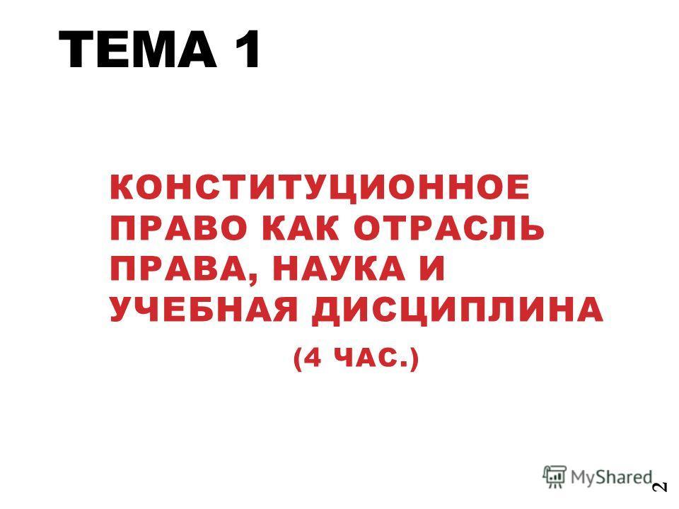 ТЕМА 1 КОНСТИТУЦИОННОЕ ПРАВО КАК ОТРАСЛЬ ПРАВА, НАУКА И УЧЕБНАЯ ДИСЦИПЛИНА (4 ЧАС.) 2