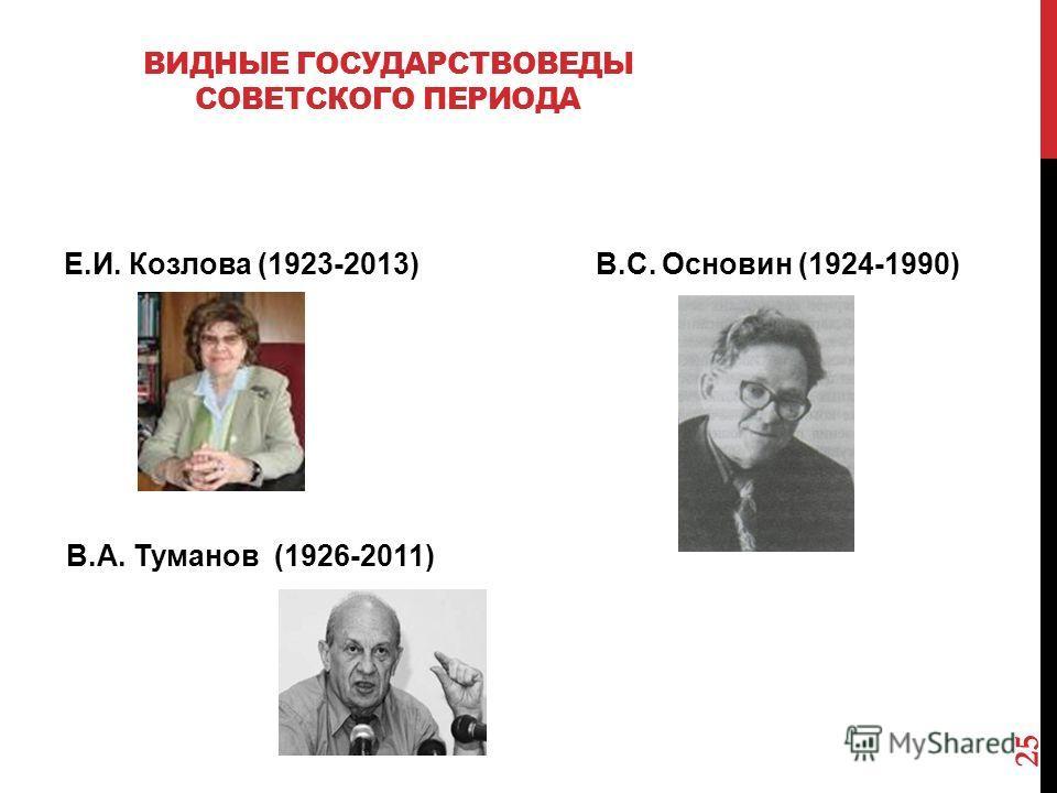 ВИДНЫЕ ГОСУДАРСТВОВЕДЫ СОВЕТСКОГО ПЕРИОДА Е.И. Козлова (1923-2013) В.С. Основин (1924-1990) В.А. Туманов (1926-2011) 25