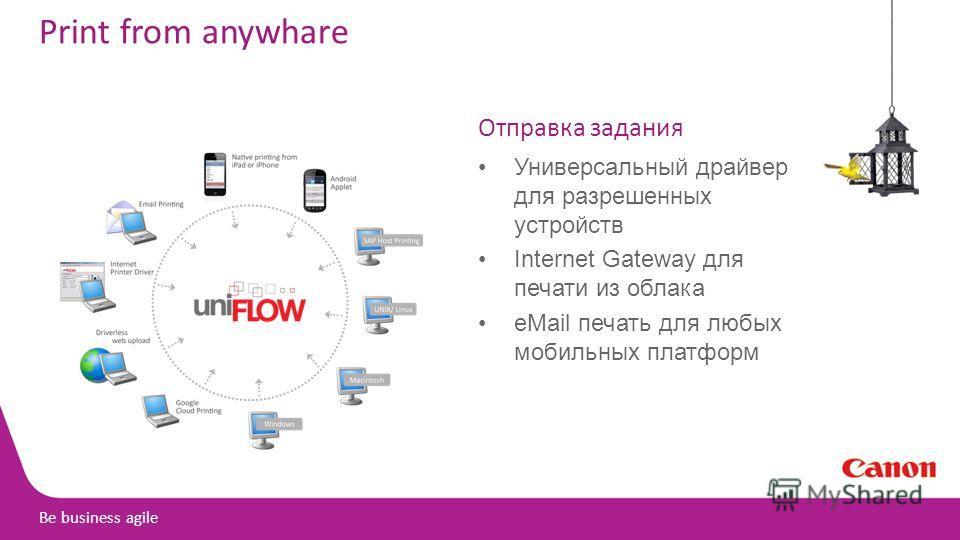 Be business agile Print from anywhare Отправка задания Универсальный драйвер для разрешенных устройств Internet Gateway для печати из облака eMail печать для любых мобильных платформ