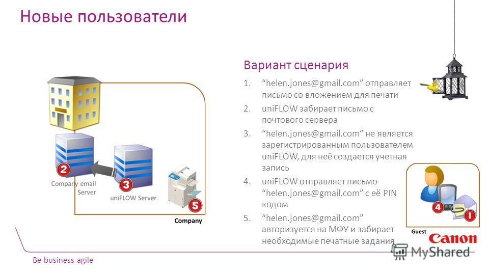 Be business agile Новые пользователи Вариант сценария 1.helen.jones@gmail.com отправляет письмо со вложением для печати 2.uniFLOW забирает письмо с почтового сервера 3.helen.jones@gmail.com не является зарегистрированным пользователем uniFLOW, для не