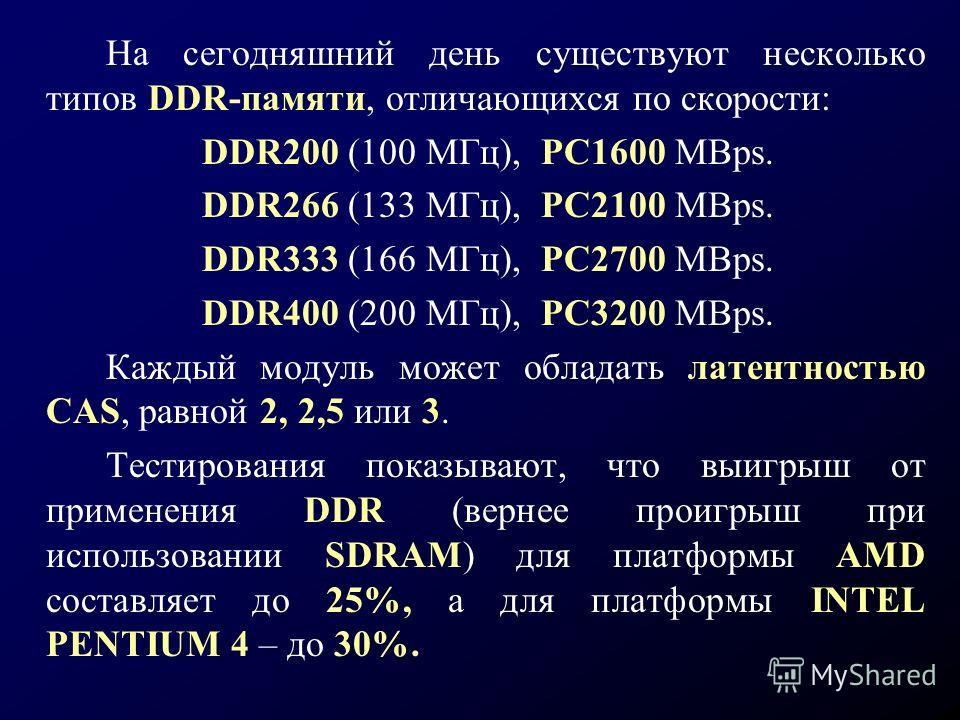 На сегодняшний день существуют несколько типов DDR-памяти, отличающихся по скорости: DDR200 (100 МГц), РС1600 MBps. DDR266 (133 МГц), РС2100 MBps. DDR333 (166 МГц), РС2700 MBps. DDR400 (200 МГц), РС3200 MBps. Каждый модуль может обладать латентностью