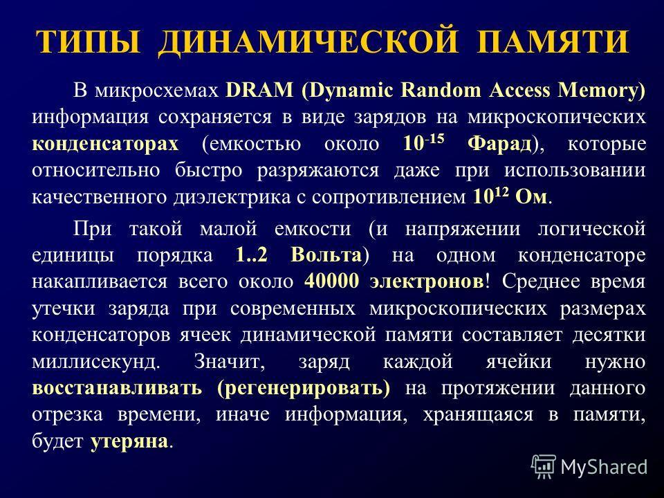 ТИПЫ ДИНАМИЧЕСКОЙ ПАМЯТИ В микросхемах DRAM (Dynamic Random Access Memory) информация сохраняется в виде зарядов на микроскопических конденсаторах (емкостью около 10 -15 Фарад), которые относительно быстро разряжаются даже при использовании качествен