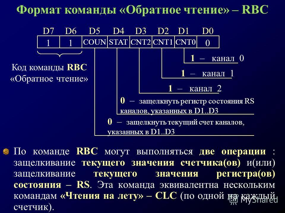 По команде RBC могут выполняться две операции : защелкивание текущего значения счетчика(ов) и(или) защелкивание текущего значения регистра(ов) состояния – RS. Эта команда эквивалентна нескольким командам «Чтения на лету» – CLC (по одной на каждый сче