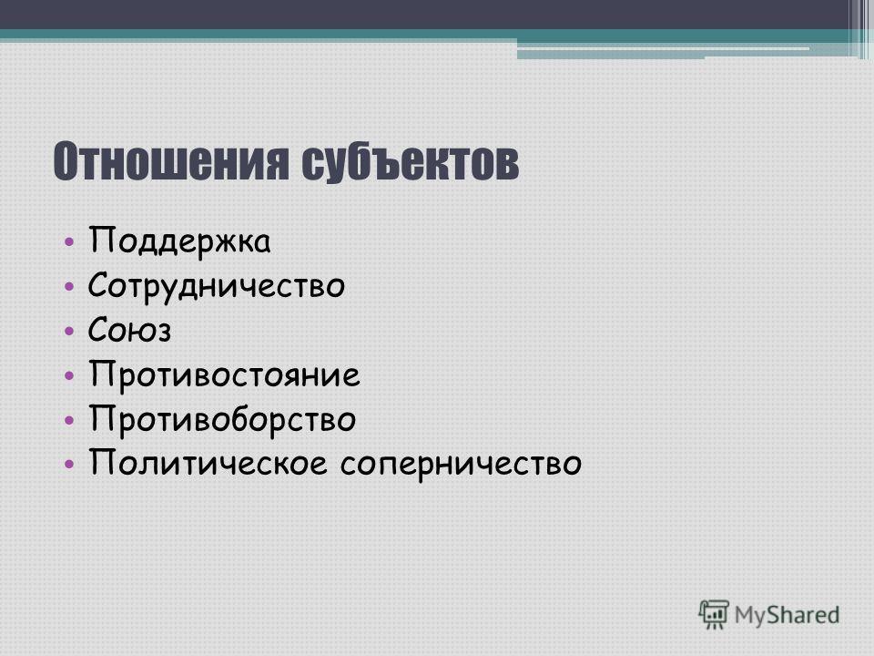 Отношения субъектов Поддержка Сотрудничество Союз Противостояние Противоборство Политическое соперничество