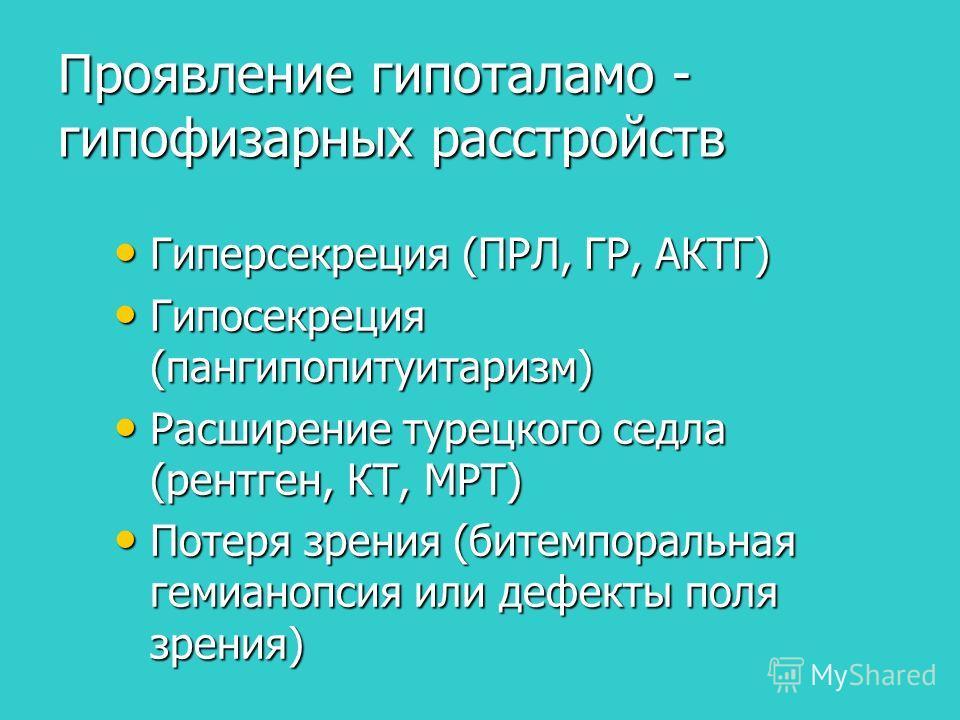 Проявление гипоталамо - гипофизарных расстройств Гиперсекреция (ПРЛ, ГР, АКТГ) Гиперсекреция (ПРЛ, ГР, АКТГ) Гипосекреция (пангипопитуитаризм) Гипосекреция (пангипопитуитаризм) Расширение турецкого седла (рентген, КТ, МРТ) Расширение турецкого седла