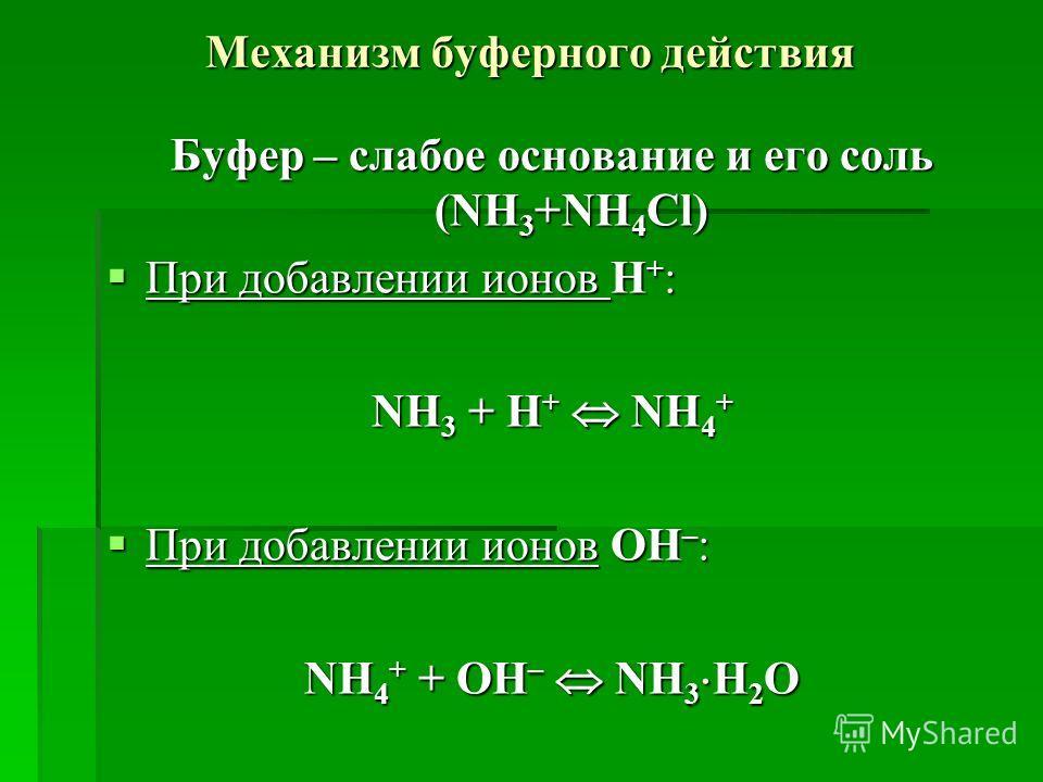 Механизм буферного действия Буфер – слабое основание и его соль (NH 3 +NH 4 Cl) При добавлении ионов H + : При добавлении ионов H + : NH 3 + H + NH 4 + При добавлении ионов OH – : При добавлении ионов OH – : NH 4 + + OH – NH 3 H 2 O