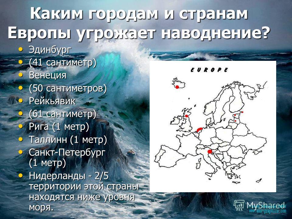 Каким городам и странам Европы угрожает наводнение? Эдинбург Эдинбург (41 сантиметр) (41 сантиметр) Венеция Венеция (50 сантиметров) (50 сантиметров) Рейкьявик Рейкьявик (61 сантиметр) (61 сантиметр) Рига (1 метр) Рига (1 метр) Таллинн (1 метр) Талли