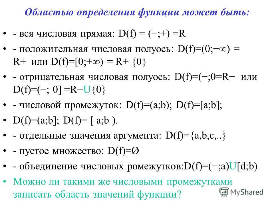 Областью определения функции может быть: - вся числовая прямая: D(f) = (;+) =R - положительная числовая полуось: D(f)=(0;+) = R+ или D(f)=[0;+) = R+ {0} - отрицательная числовая полуось: D(f)=(;0=R или D(f)=(; 0] =RU{0} - числовой промежуток: D(f)=(a