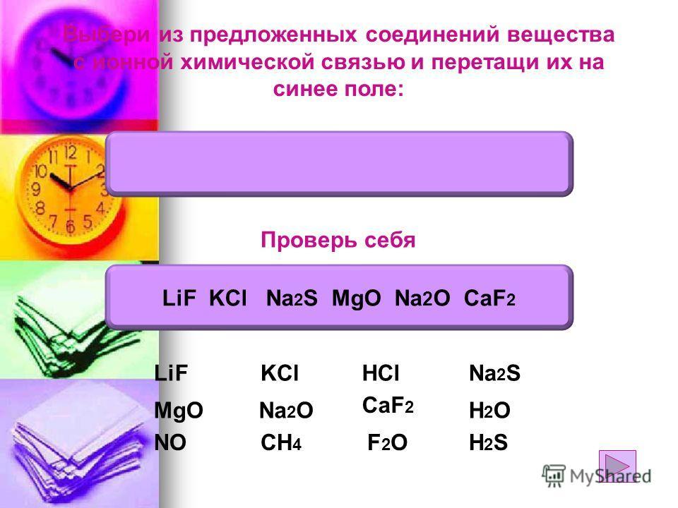 Выбери из предложенных соединений вещества с ионной химической связью и перетащи их на синее поле: Na 2 O CaF 2 Na 2 SHClKCl NO H2OH2O H2SH2SF2OF2O Проверь себя LiF KCl Na 2 S MgO Na 2 O CaF 2 LiF MgO CH 4