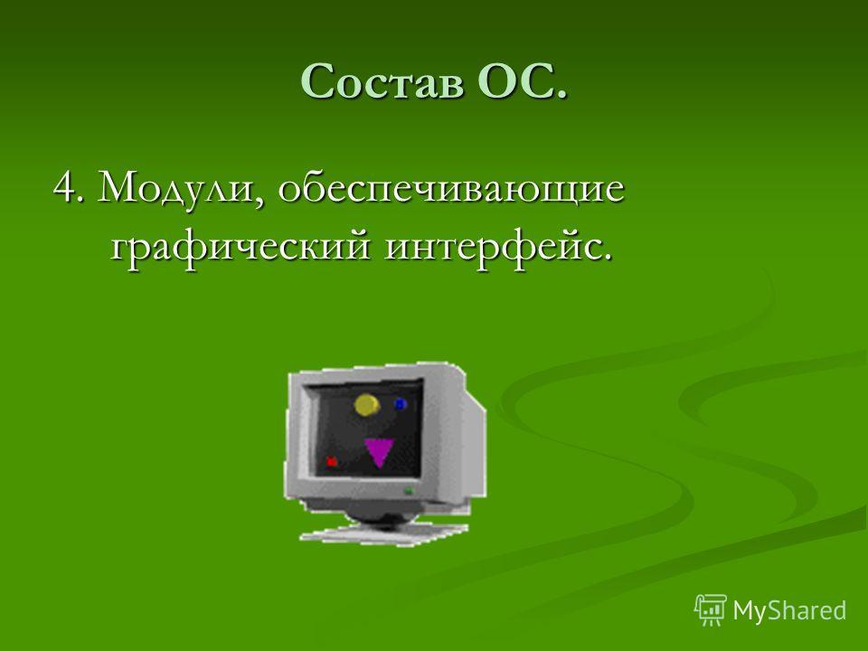 Состав ОС. 4. Модули, обеспечивающие графический интерфейс.