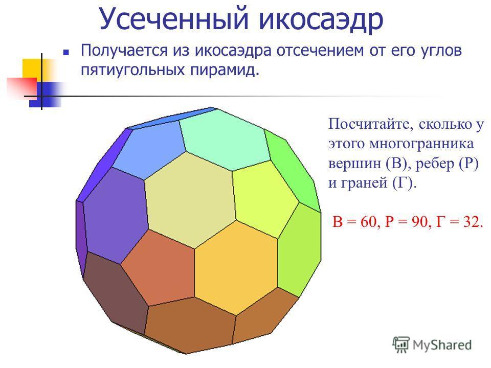 Усеченный икосаэдр Получается из икосаэдра отсечением от его углов пятиугольных пирамид. Посчитайте, сколько у этого многогранника вершин (В), ребер (Р) и граней (Г). В = 60, Р = 90, Г = 32.