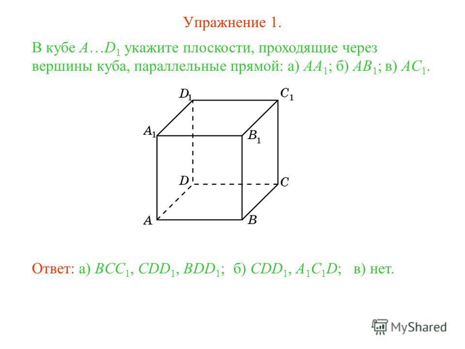 б) CDD 1, A 1 C 1 D; В кубе A…D 1 укажите плоскости, проходящие через вершины куба, параллельные прямой: а) AA 1 ; б) AB 1 ; в) AC 1. Ответ: а) BCC 1, CDD 1, BDD 1 ;в) нет. Упражнение 1.