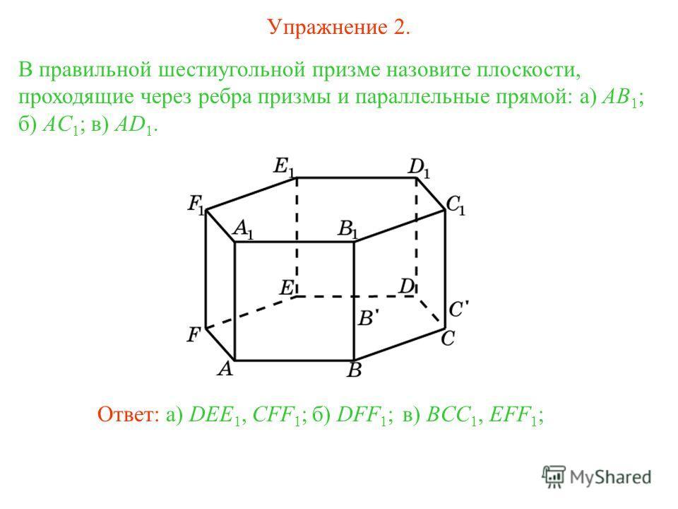 в) BCC 1, EFF 1 ; В правильной шестиугольной призме назовите плоскости, проходящие через ребра призмы и параллельные прямой: а) AB 1 ; б) AC 1 ; в) AD 1. б) DFF 1 ;Ответ: а) DEE 1, CFF 1 ; Упражнение 2.