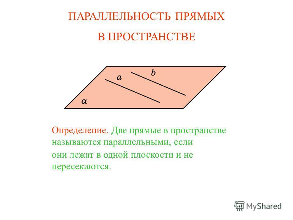 ПАРАЛЛЕЛЬНОСТЬ ПРЯМЫХ В ПРОСТРАНСТВЕ Определение. Две прямые в пространстве называются параллельными, если они лежат в одной плоскости и не пересекаются.