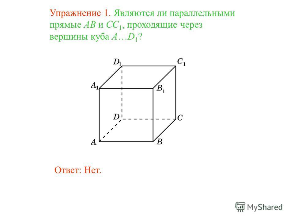Ответ: Нет. Упражнение 1. Являются ли параллельными прямые AB и CC 1, проходящие через вершины куба A…D 1 ?