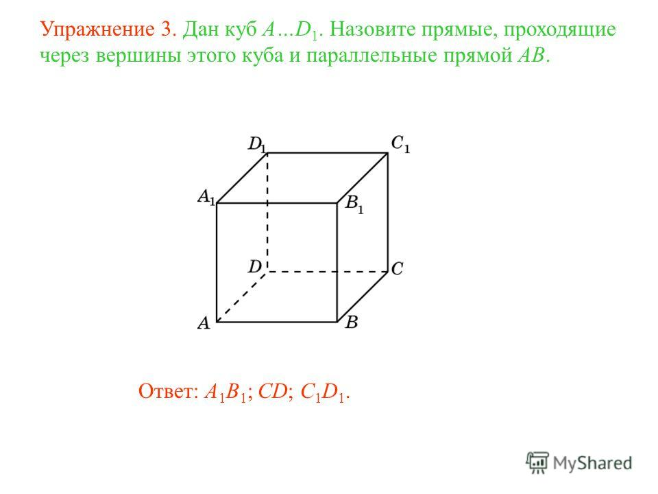 Ответ: A 1 B 1 ; CD; C 1 D 1. Упражнение 3. Дан куб A…D 1. Назовите прямые, проходящие через вершины этого куба и параллельные прямой AB.