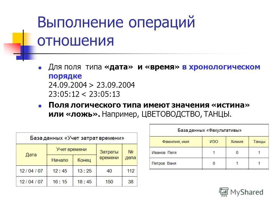 Выполнение операций отношения Для поля типа «дата» и «время» в хронологическом порядке 24.09.2004 > 23.09.2004 23:05:12 < 23:05:13 Поля логического типа имеют значения «истина» или «ложь». Например, ЦВЕТОВОДСТВО, ТАНЦЫ.