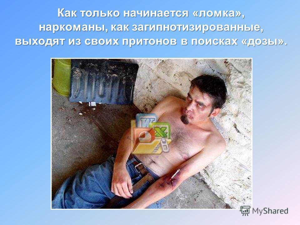 Как только начинается «ломка», наркоманы, как загипнотизированные, выходят из своих притонов в поисках «дозы».