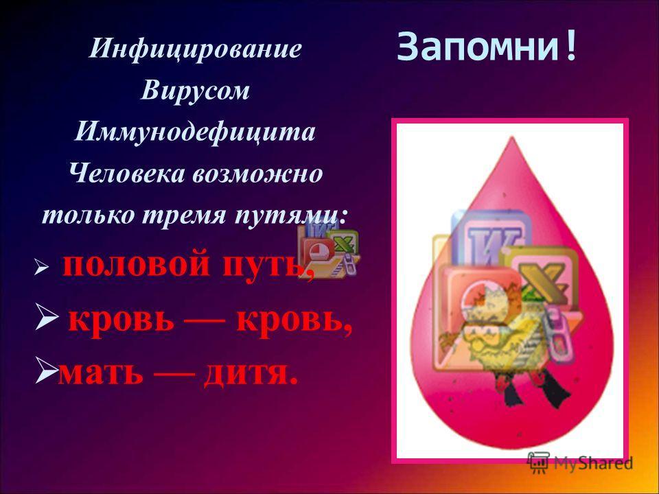 Запомни! Инфицирование Вирусом Иммунодефицита Человека возможно только тремя путями: половой путь, кровь кровь, мать дитя.