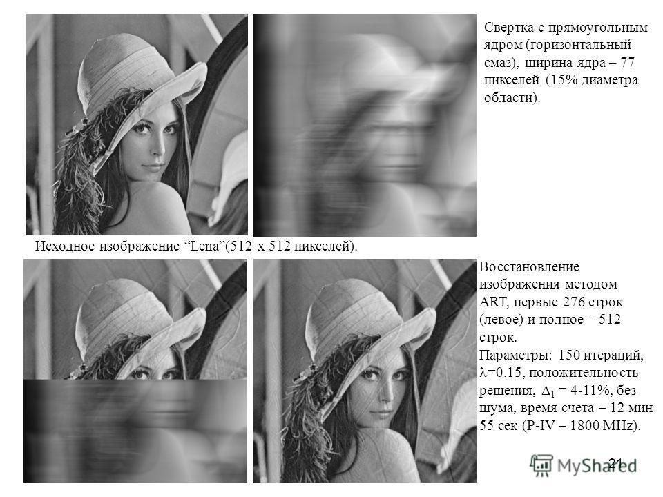 21 Исходное изображение Lena(512 x 512 пикселей). Свертка с прямоугольным ядром (горизонтальный смаз), ширина ядра – 77 пикселей (15% диаметра области). Восстановление изображения методом ART, первые 276 строк (левое) и полное – 512 строк. Параметры: