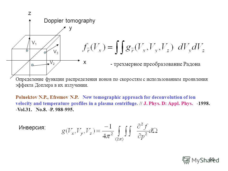 50 Doppler tomography V1V1 V2V2 V3V3 Определение функции распределения ионов по скоростям с использованием проявления эффекта Доплера в их излучении. Poluektov N.P., Efremov N.P. New tomographic approach for deconvolution of ion velocity and temperat