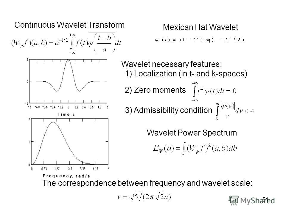 51 Continuous Wavelet Transform Mexican Hat Wavelet Wavelet Power Spectrum The correspondence between frequency and wavelet scale: Wavelet necessary features: 1) Localization (in t- and k-spaces) 2) Zero moments 3) Admissibility condition
