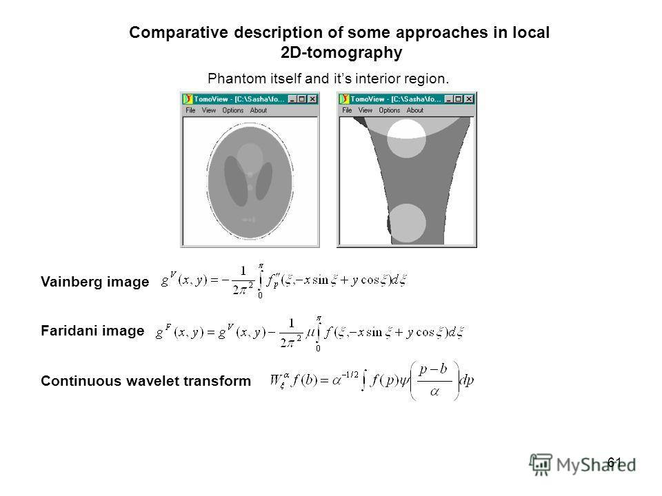 61 Comparative description of some approaches in local 2D-tomography Phantom itself and its interior region. Vainberg image Faridani image Continuous wavelet transform