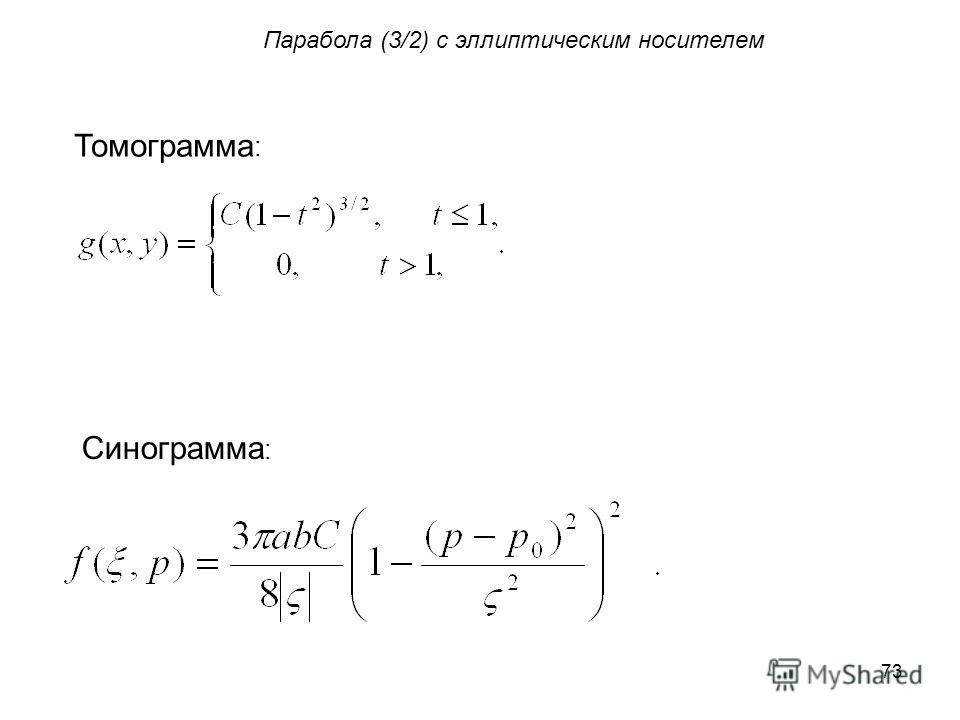 73 Парабола (3/2) с эллиптическим носителем Томограмма : Синограмма :
