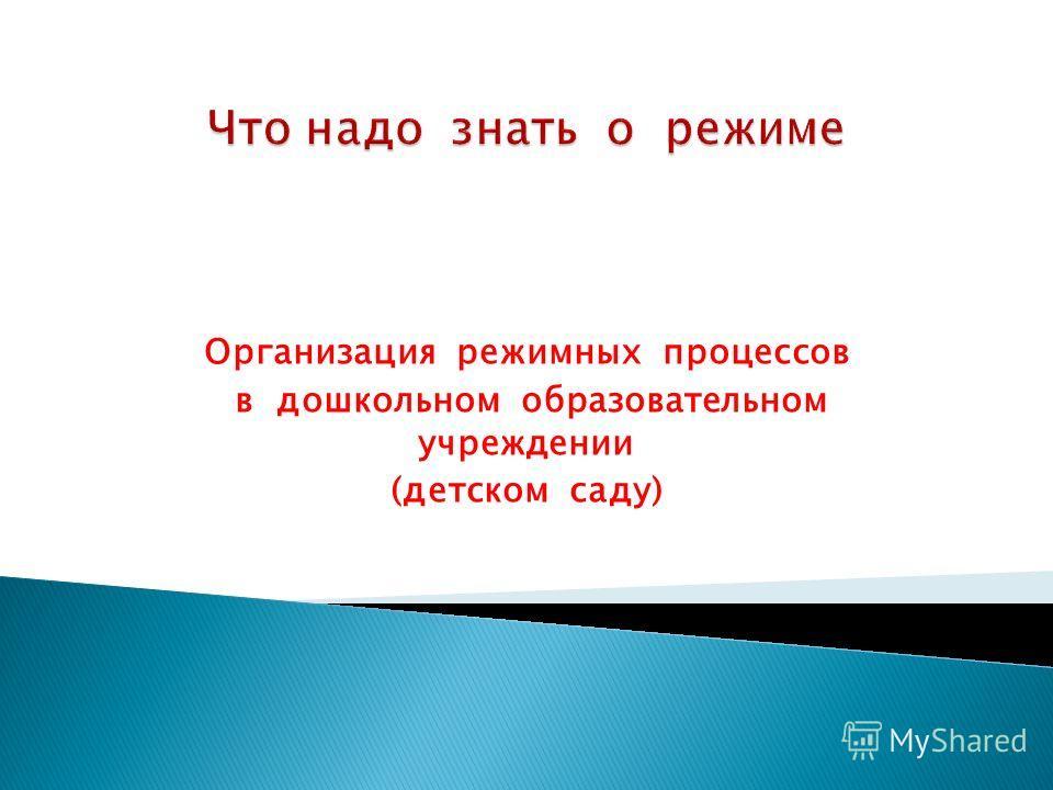 Организация режимных процессов в дошкольном образовательном учреждении (детском саду)