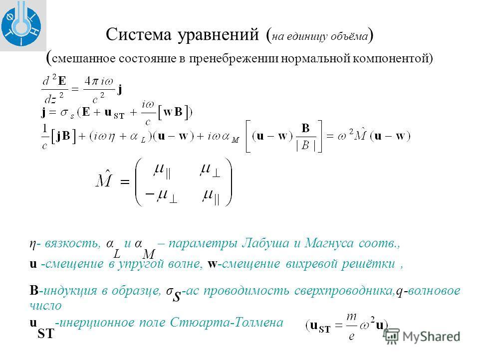 Система уравнений ( на единицу объёма ) ( смешанное состояние в пренебрежении нормальной компонентой) η- вязкость, α L и α M – параметры Лабуша и Магнуса соотв., u -смещение в упругой волне, w-смещение вихревой решётки, В-индукция в образце, σ s -ac