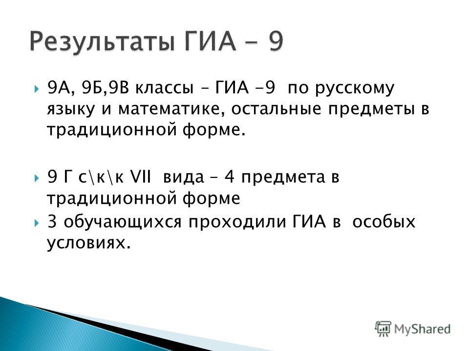 9А, 9Б,9В классы – ГИА -9 по русскому языку и математике, остальные предметы в традиционной форме. 9 Г с\к\к VII вида – 4 предмета в традиционной форме 3 обучающихся проходили ГИА в особых условиях.