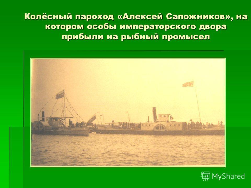 Колёсный пароход «Алексей Сапожников», на котором особы императорского двора прибыли на рыбный промысел