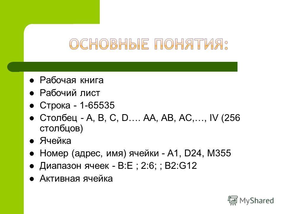Рабочая книга Рабочий лист Строка - 1-65535 Столбец - A, B, C, D…. AA, AB, AC,…, IV (256 столбцов) Ячейка Номер (адрес, имя) ячейки - A1, D24, M355 Диапазон ячеек - B:E ; 2:6; ; B2:G12 Активная ячейка