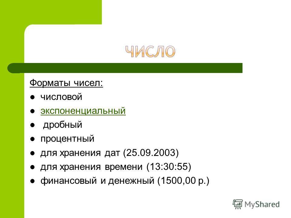Форматы чисел: числовой экспоненциальный дробный процентный для хранения дат (25.09.2003) для хранения времени (13:30:55) финансовый и денежный (1500,00 р.)