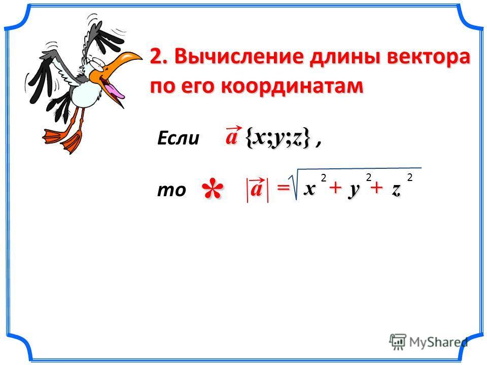 y zx= a 2 22 2. Вычисление длины вектора по его координатам a {x;y;z} * Если, то