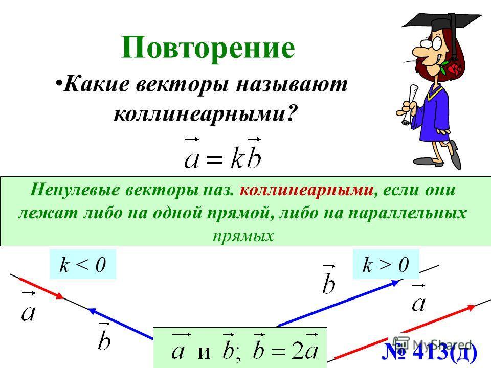 Повторение Ненулевые векторы наз. коллинеарными, если они лежат либо на одной прямой, либо на параллельных прямых k < 0k > 0 Какие векторы называют коллинеарными? 413(д)