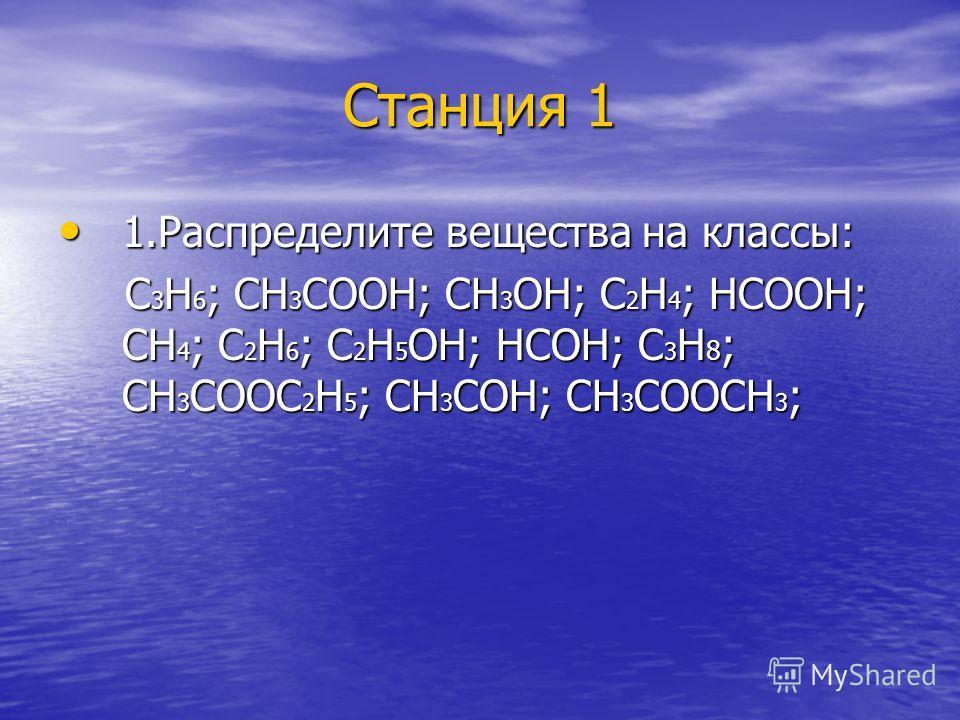 Станция 1 1.Распределите вещества на классы: 1.Распределите вещества на классы: С 3 Н 6 ; СН 3 СООН; СН 3 ОН; С 2 Н 4 ; НСООН; СН 4 ; С 2 Н 6 ; С 2 Н 5 ОН; НСОН; С 3 Н 8 ; СН 3 СООС 2 Н 5 ; СН 3 СОН; СН 3 СООСН 3 ; С 3 Н 6 ; СН 3 СООН; СН 3 ОН; С 2 Н