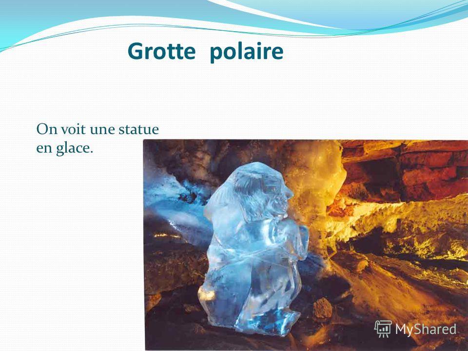 Grotte polaire On voit une statue en glace.