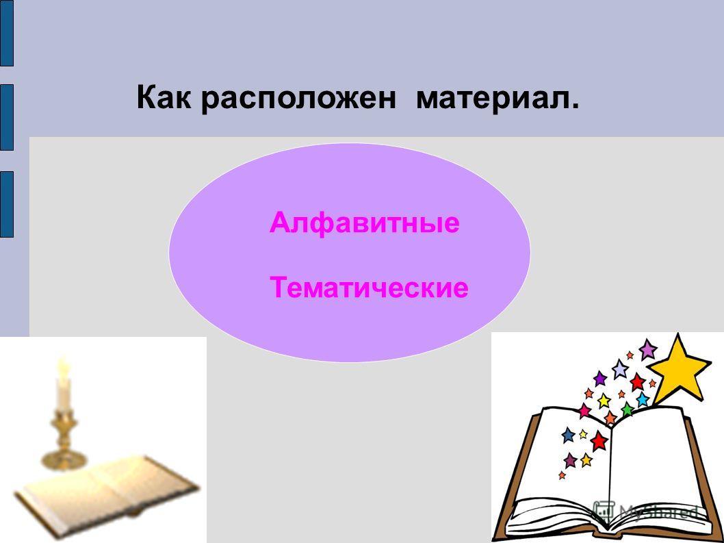 Алфавитные Тематические Как расположен материал.