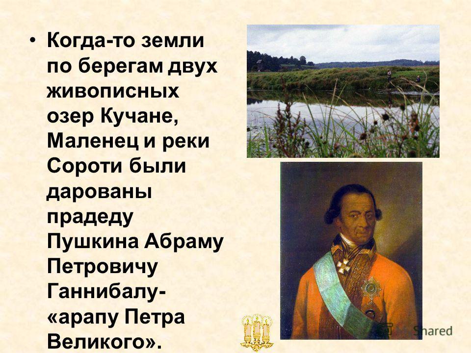 Когда-то земли по берегам двух живописных озер Кучане, Маленец и реки Сороти были дарованы прадеду Пушкина Абраму Петровичу Ганнибалу- «арапу Петра Великого».