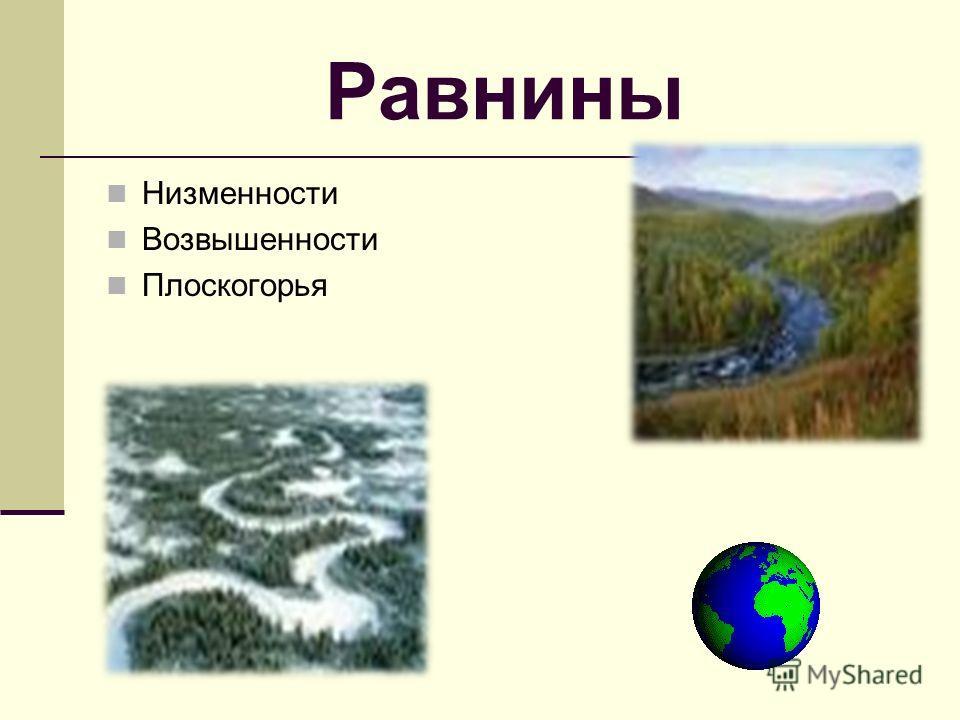 Равнины Низменности Возвышенности Плоскогорья