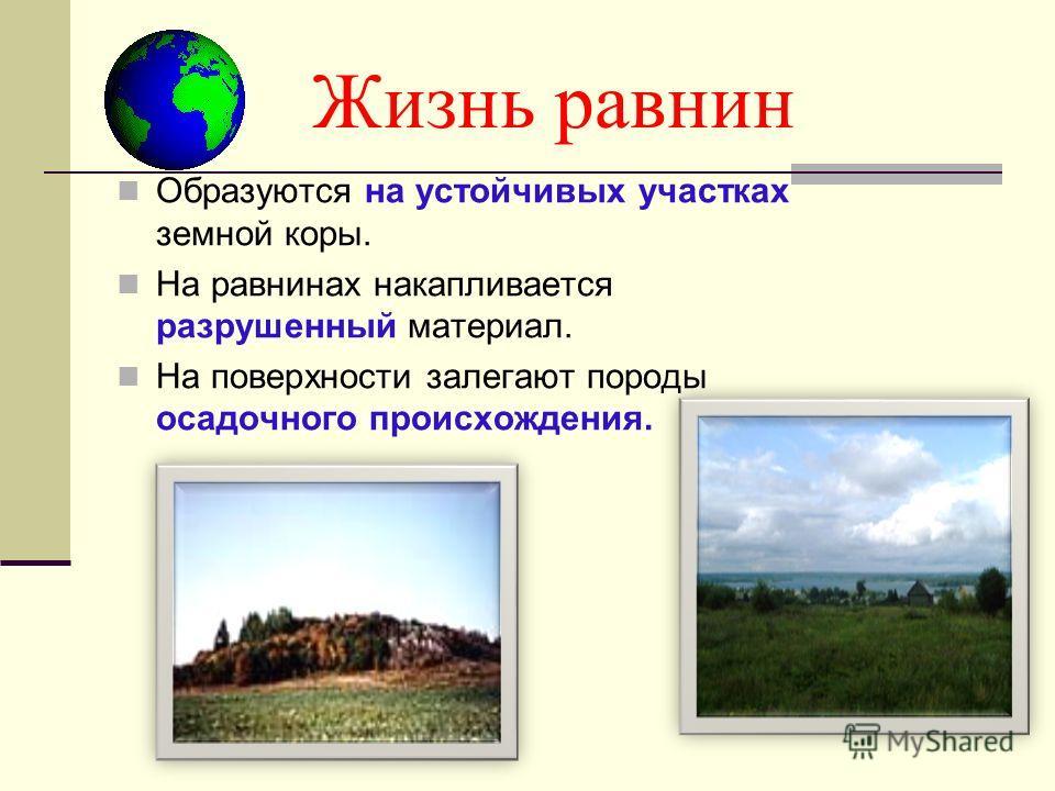 Жизнь равнин Образуются на устойчивых участках земной коры. На равнинах накапливается разрушенный материал. На поверхности залегают породы осадочного происхождения.