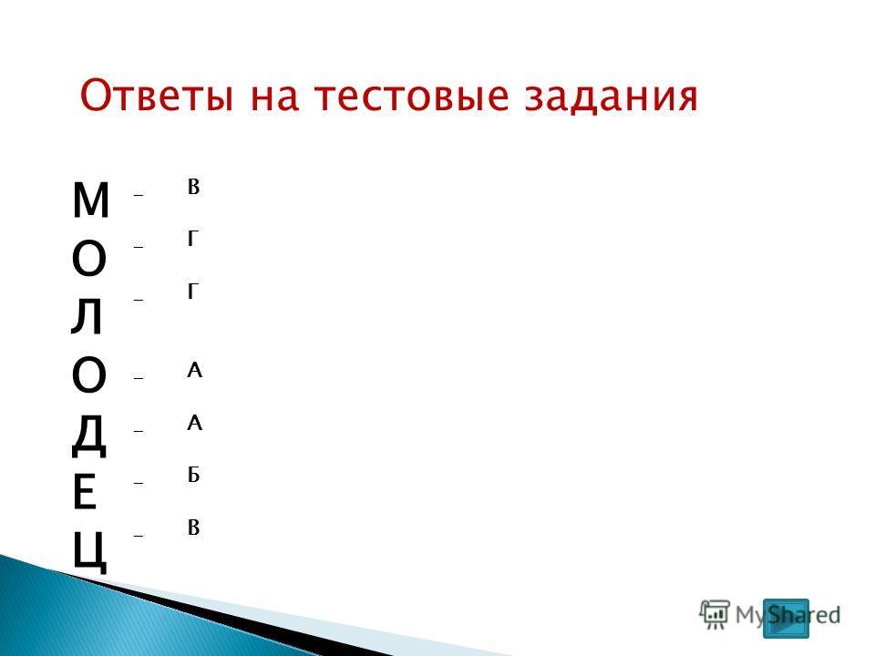 Ответы на тестовые задания М О Л О Д Е Ц -------------- ВГГААБВВГГААБВ
